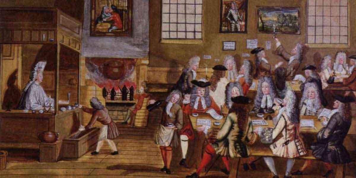 Эта акварель семнадцатого века отображает интерьер кофейни в Лондоне. Она предоставляет заслуживающую доверия запись о том, как подавали чай в конических заварных чайниках и пили из неглубоких чашек без ручек.