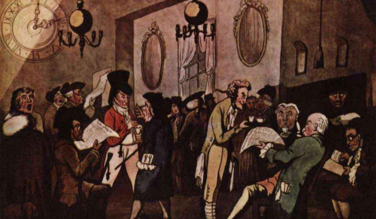 Обычное зрелище в лондонских кофейнях — бизнесмены, занимающиеся выпивкой напитков, чтением и оживленной беседой. Это наглядно отображено на гравюре с видом из кофейни Ллойда.
